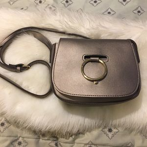 Metallic Gray/Charcoal Crossbody Purse